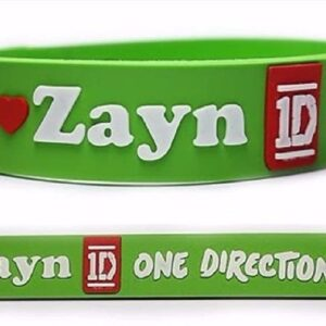 One Direction 3D Embossed Silicone Wristband Bracelet Open with 2 Adjustable Sizes (Green, 20 mm)