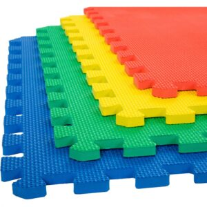 interlocking colored rubber tiles